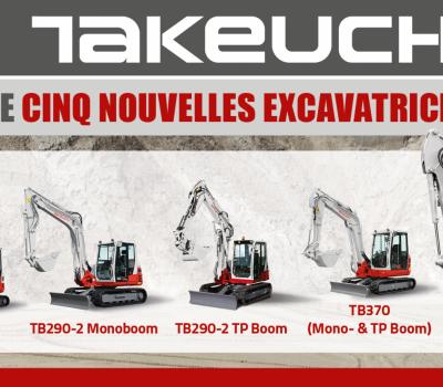 Lancement de cinq nouvelles excavatrices Takeuchi !