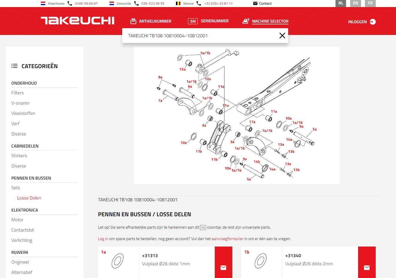 technische tekening takeuchi onderdelen shop