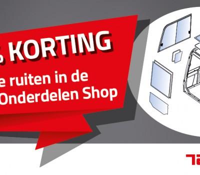 De hele maand maart 15% korting op ruiten in de Online Onderdelen Shop!